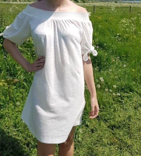 Roxy Blau//Weiß Süß Schulterfrei Perfekt Urlaubs Kleid XS-S-M-L-XL Bnwot