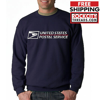 USPS POSTAL SPORT GREY CREW NECK Sweatshirt Logo Chest United States Service US