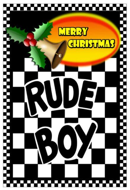 Ska / Mods Rude Boy - Merry Christmas & Neues Jahre Karte - Hochglanz - Brandneu
