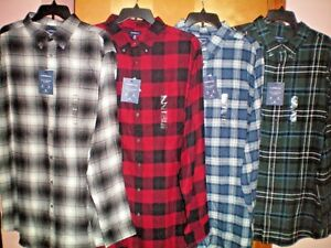 NWT-NEW-big-mens-plaid-CROFT-amp-BARROW-true-comfort-flannel-shirt-44-retail