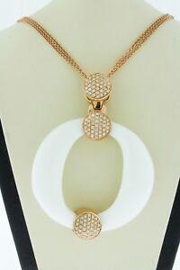 14K-Rose-Gold-Pendant-Natural-Round-White-Agate-amp-Diamonds-Tsavorite-Garnet-16-034