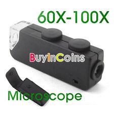Mini Pocket Gadget LED 60X-100X Magnifier Microscope Jeweler Loupe
