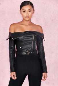 58e90cacb4d0a1 Faux Leather Off Shoulder Jacket Top Blouse Moto Harley Sexy Look XS ...