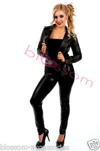 I97-1950-039-s-Black-Womens-Jacket-Lady-50-039-s-Fancy-Dress-Costume