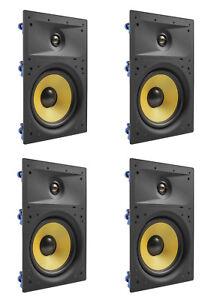 4-Pack-TDX-8-034-2-Way-in-Wand-Heimkino-Surround-Sound-Lautsprecher-Unterputz-weiss
