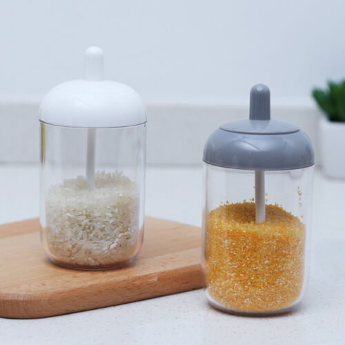 Salt Container Paprika Spice Jar Condiment Bottles With Spoon Storage Box