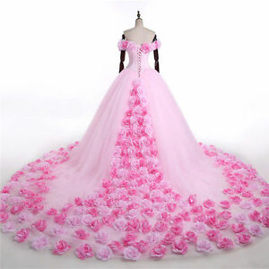 New Pink Cloud Flower Rose Wedding Dresses Long Tulle Puffy Ruffle ...