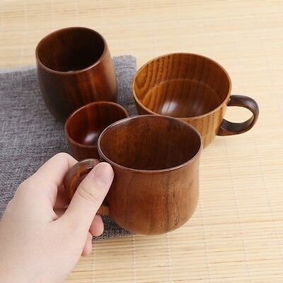 Wooden Tea Cup Primitive Handmade Natural Wood Coffee Beer Juice Milk Mug