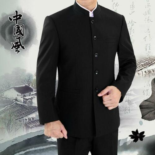 New Mens Mandarin Banded Collar Single Breasted Chinese Traditional Suit Coats