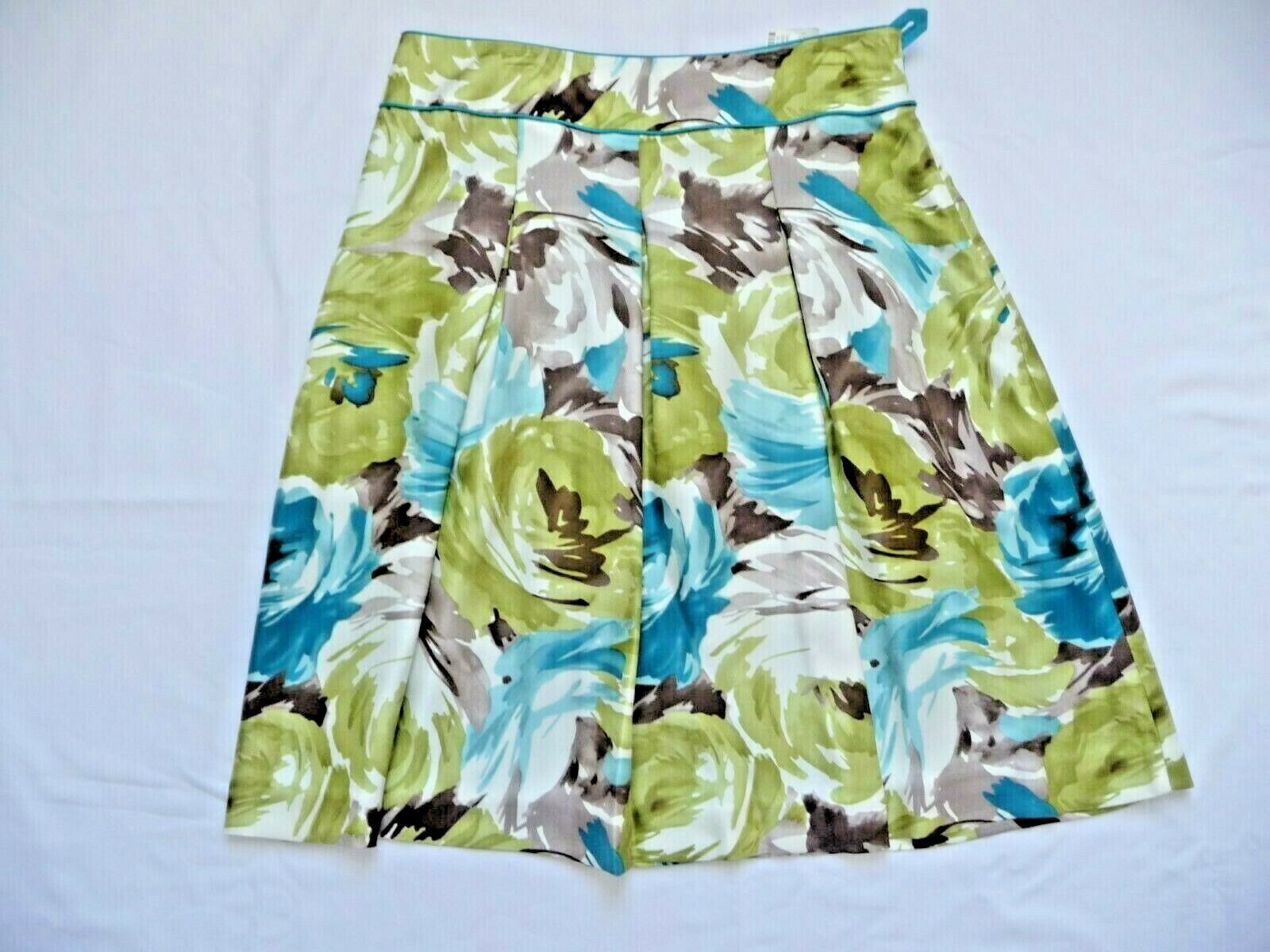 Talbots NWT 4P Skirt Muted Florals 100% Silk Pleated Lined  Turquoise Trim 23