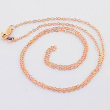 14K SOLID ROSE GOLD Cable Chain Necklace 18 inch Length with Lobster Clasp