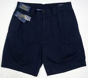 NWT-75-Polo-Ralph-Lauren-Classic-Fit-Pleated-9-034-Mens-Chino-Khaki-Shorts-Navy
