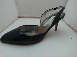 online store 9dec4 5222c Details zu SCHUMACHER Pumps Lackleder dunkel blau Riemchen Designer Schuhe  ungetragen