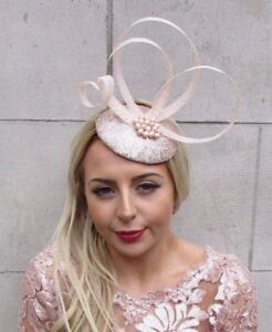 Real Pearl Light Blush Pink Champagne Pillbox Hat Fascinator Races ... 982284820a7