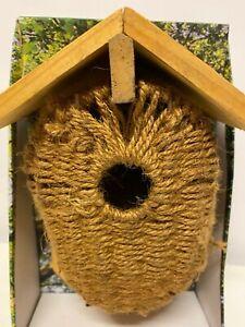 Madera & Sisal Nido Caja Casa de Pájaros Pequeño Salvaje Azul Tit Robin Gorrión