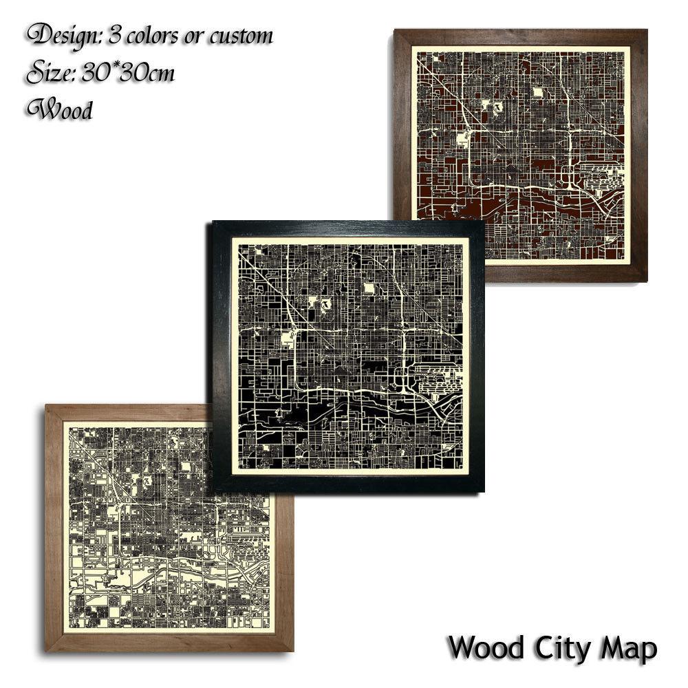 Wood City Map Phoenix USA Decor Picture Town Village Laser Cut Wall Art 30x30