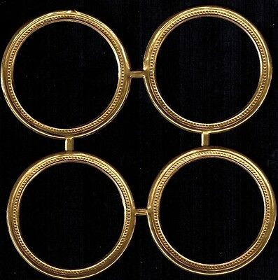 ROUND CIRCLE BEADED FRAME ORNAMENT PAPER LARGE ANTQ GOLD SCRAP DRESDEN GERMANY