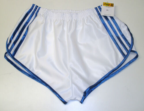 4XL Blanc /& Bleu Royal Rétro nylon satin Sprinter Shorts S