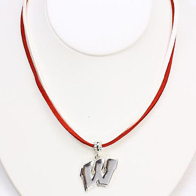 Wisconsin Badgers Necklace Black Leather Cord NCAA Metal Small Pendant College