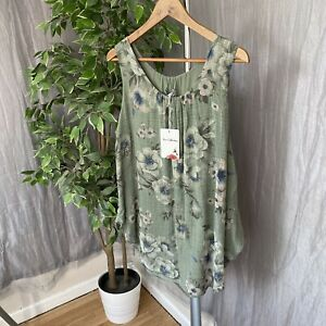 BNWT-MADE-IN-ITALY-Green-Floral-Print-SIZE-Medium-Ruched-Sleeveless-Cami-Top