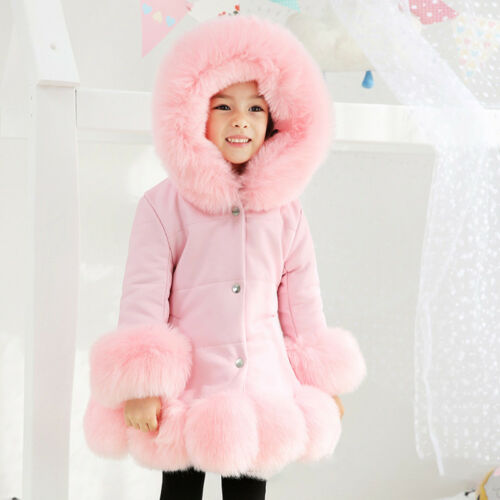 Girls Kids Padded Quilted Winter Coat Jacket Fur Hooded Long Pu Leather Parka