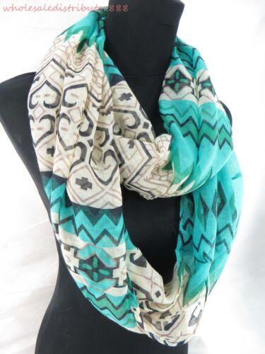 wholesale 10pcs cowl wrap floral Aztec bohemian 2-loop infinity scarf DL4