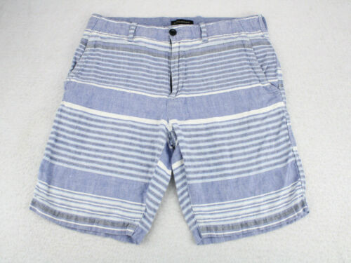 BANANA REPUBLIC Blue Striped Linen Bermuda Deck Sh