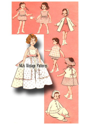 """Vtg Doll Clothes Pattern 1950s//60s ~ 17/"""" Shirley Temple Long Dress Playsuit"""