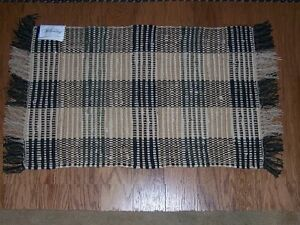 Image Is Loading Williamsburg Booker Plaid Black Amp Tan Rag Rug