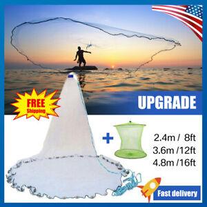 8ft-12ft-16ft-Hand-Cast-Fishing-Mesh-Mono-Saltwater-Bait-Drawstring-Catch-Net-US