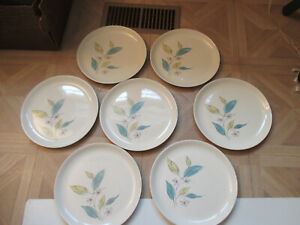 Lot-of-8-Vintage-Salem-Biscayne-9-1-4-034-Dinner-Plates-MCM-Floral-Leaves-Flower