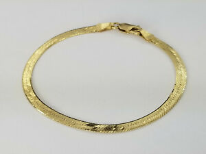 Italian-Herringbone-Bracelet-14k-Solid-Yellow-Gold-7-034-Inches