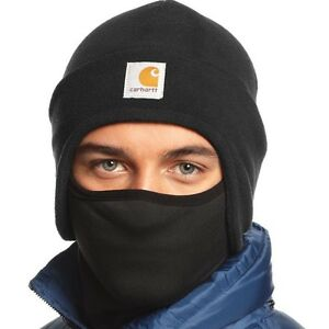 591e830cb21 Carhartt Men Fleece Hat 2 In 1 Winter Headwear Face Mask Head Cap ...