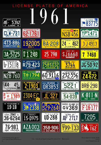 1961 License Plates of America poster