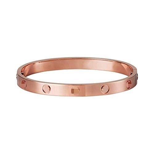 Girl Elegant Love Screw Embossed Bracelet Rose Gold Bangle Crystal Cuff Party z9