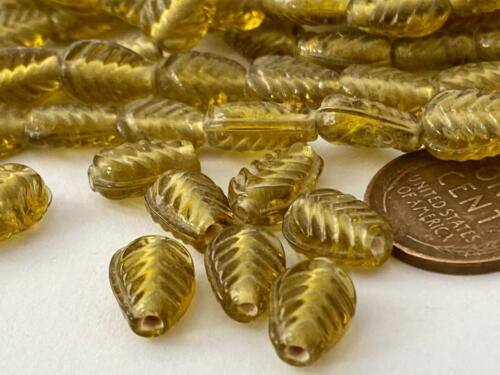 Translucent 8 x 11mm Olive Green Pressed Glass Leaf Beads 50