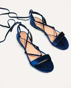 1eb64a3baad ZARA Navy Blue Velvet Lace up Flat Sandals Shoes Size US 7.5  UK 5 ...