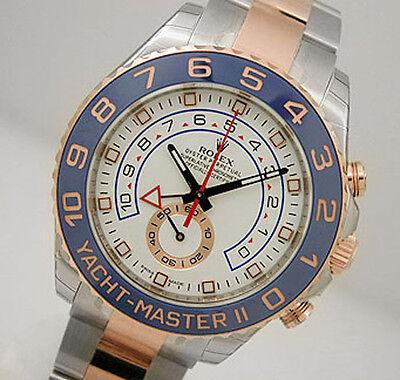 Rolex YACHTMASTER II 116681 Mens Steel & 18K Pink Gold Blue Ceramic Bezel 44MM