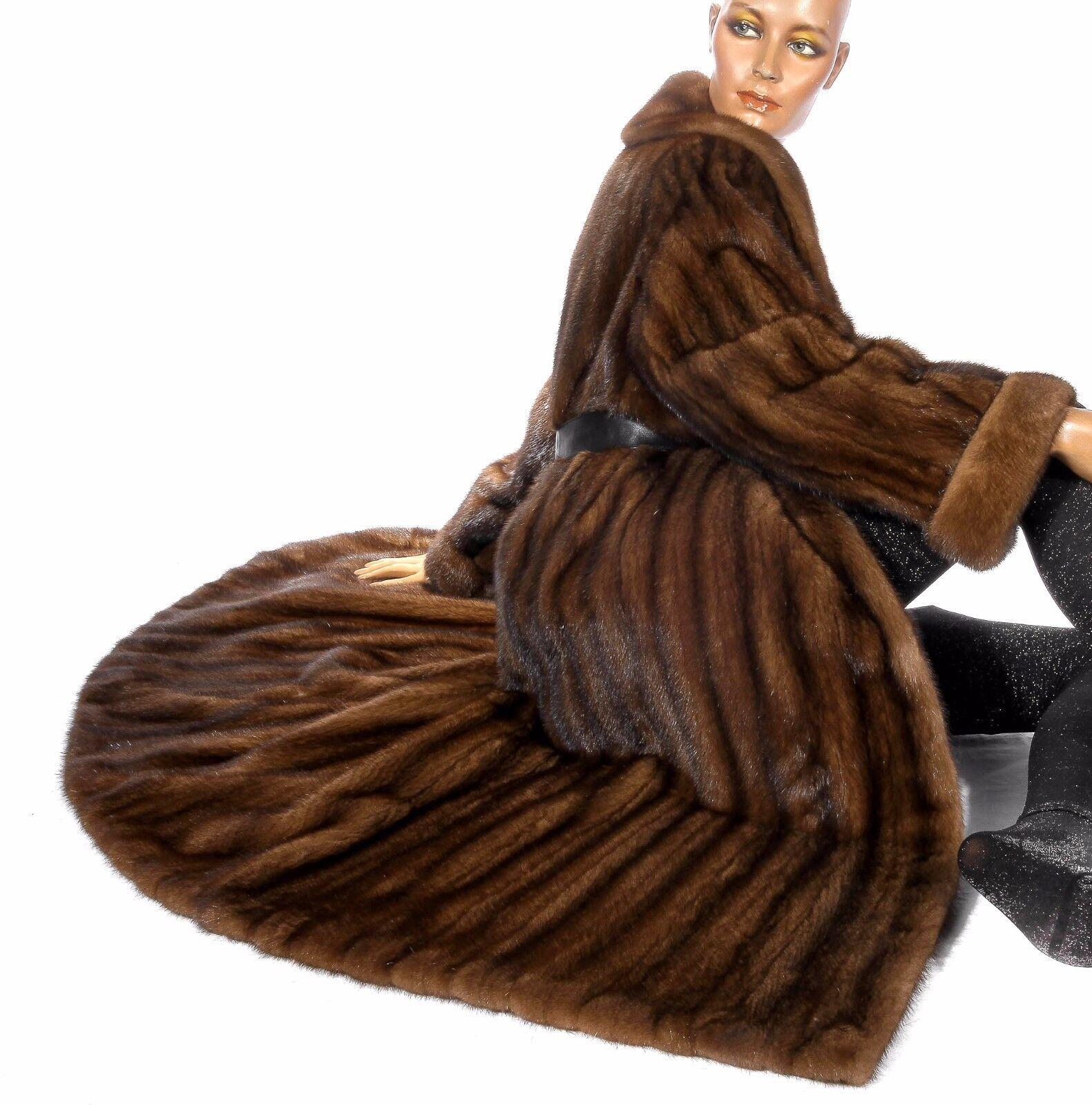 L - XL Wonderful hazel brown mink fur coat mantle Visone Soft Vintage Real fur