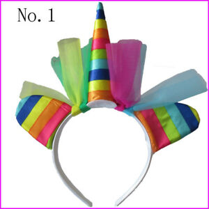 "10 BLESSING Good Girl DIY 5"" Unicorn Hair Bow Pony Headband"