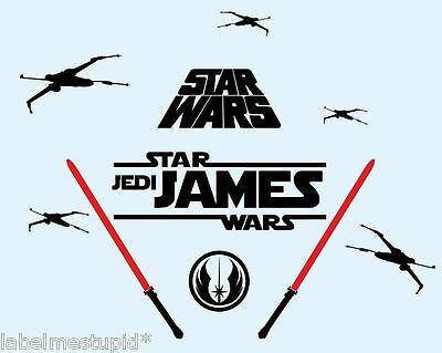 STAR WARS Any Custom Name Wall Sticker Jedi Knight Lightsaber
