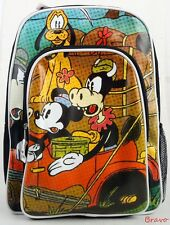 """Disney, Mickey, Pluto, Clarabelle Cow  16"""" Classic Large School Backpack Bag New"""