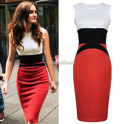 Women Midi Bodycon Ladies Pencil Evening Slimming Panel Tea Sexy Dress