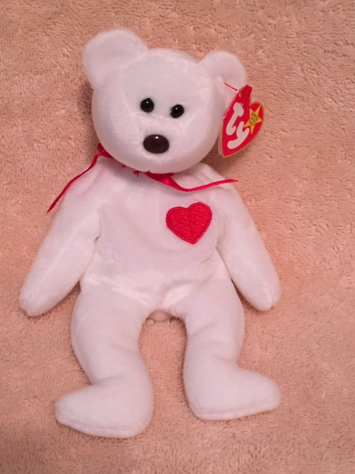 Ty beanie baby - valentino der teddybär unberührten w   mint tags pvc pellet in rente