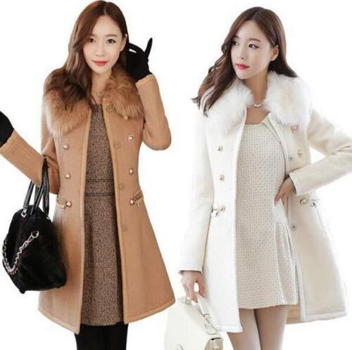 Women Winter Fur Collar Mid Long Coat Wool Jacket SlimFit Trench Outwear Stylish
