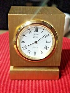 Vintage-Selco-Brass-Desk-Clock-with-Thermometer-Butterball