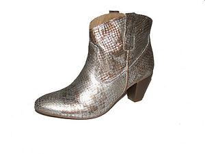 Midreia Stiefelette Gr. 41 taupe metallic Leder Boots Heine NEU