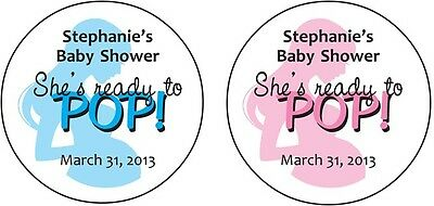 20 ROUND Custom Ready to POP BABY SHOWER LABELS / STICKERS for POPCORN Favors