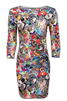 New Ladies Funky Print Party Crazy Bodycon 3 Quarter Sleeves Womens Dress Sizes