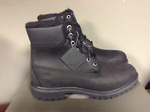 NEW MEN/'S TIMBERLAND 6 INCH WATERPROOF FUR LINED BOOTS BLACK NUBUCK A115T